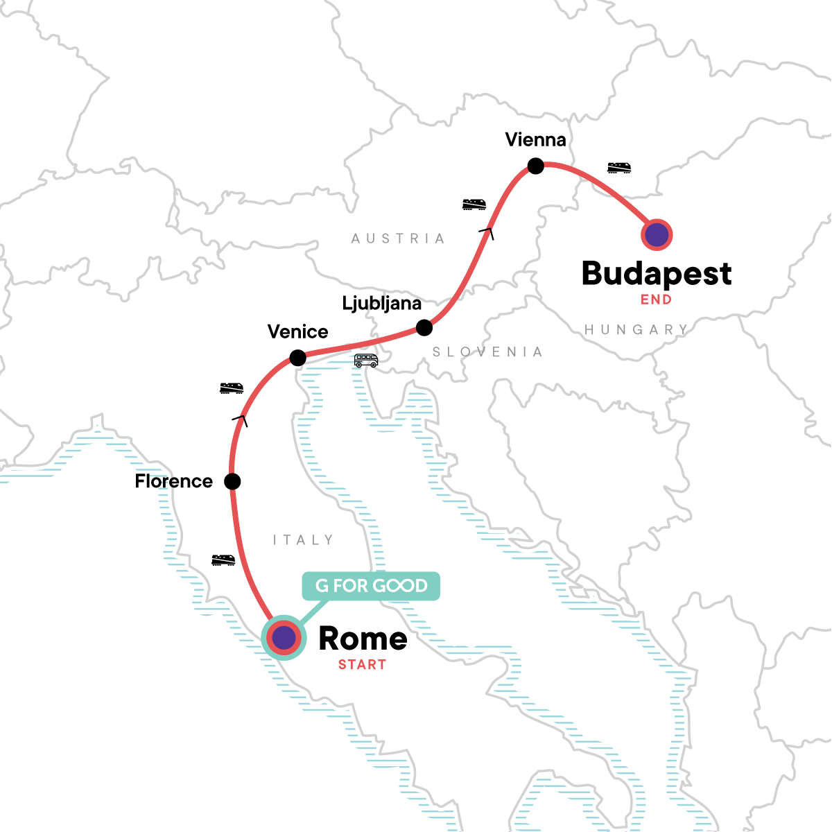 Rome to Budapest: Canals & Capitals Map