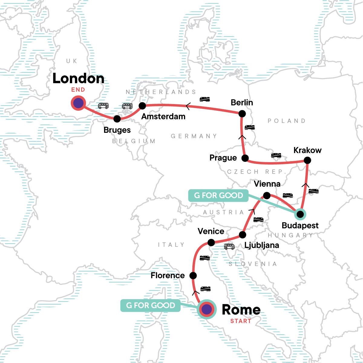 Rome to London: Cobblestones & Cuisine Map