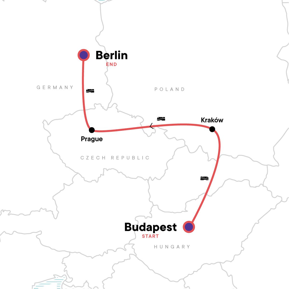 Budapest to Berlin: Graffiti Walls & Market Halls Map