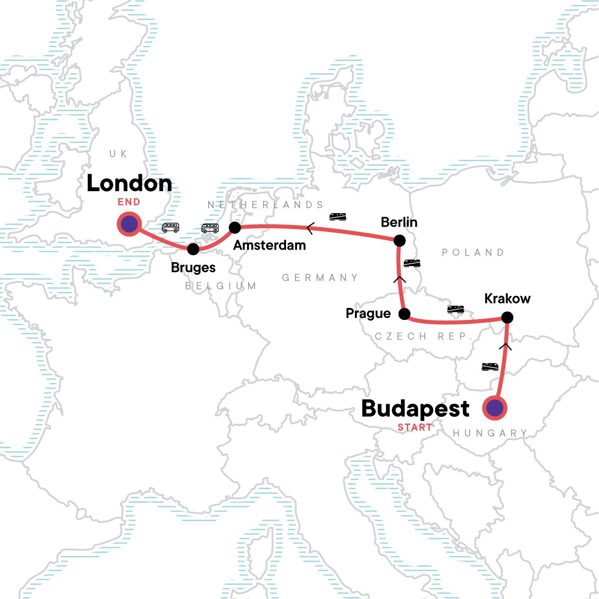 Budapest to London: Bike Tours & Belgian Waffles Map