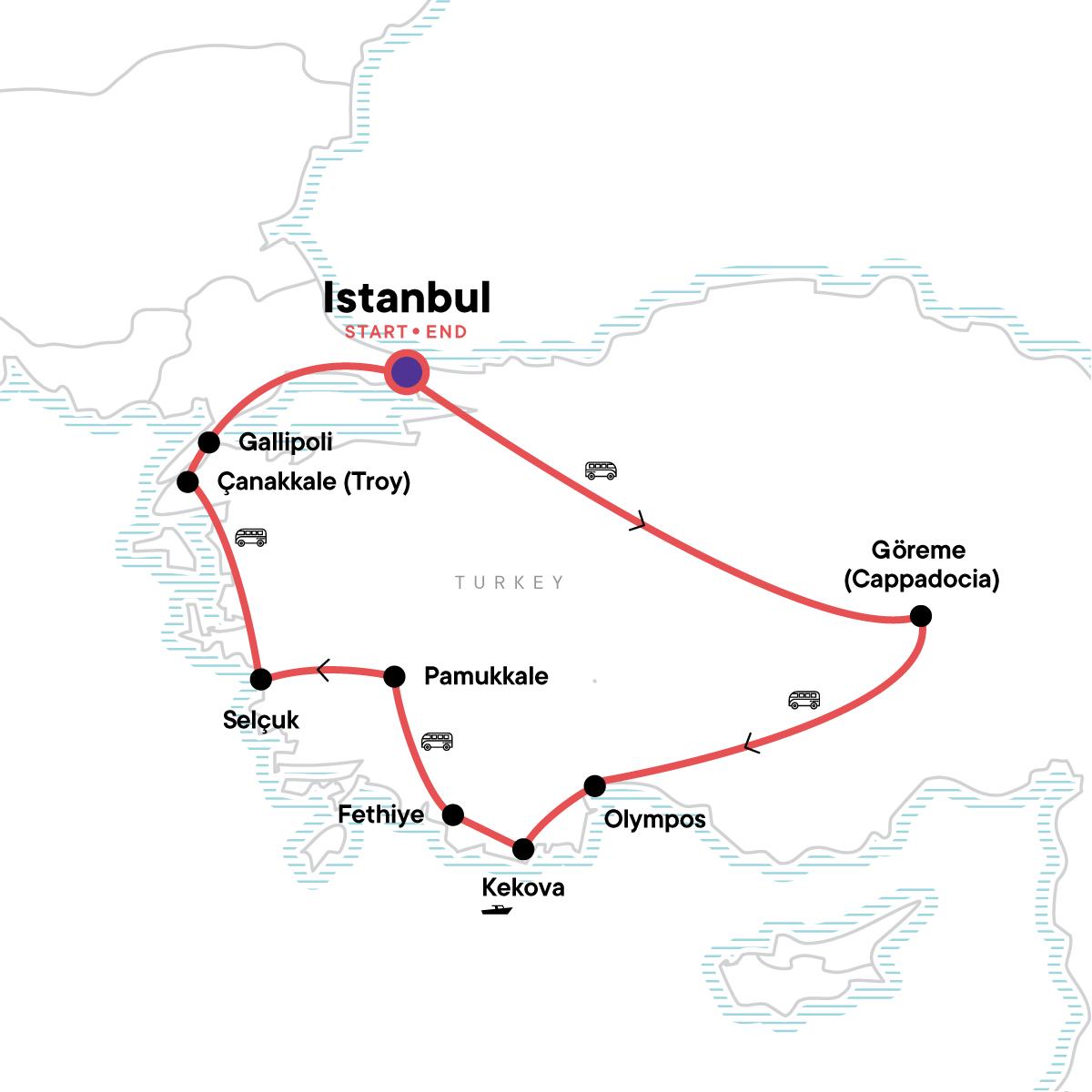 Turkey: Coastlines & Kebabs Map
