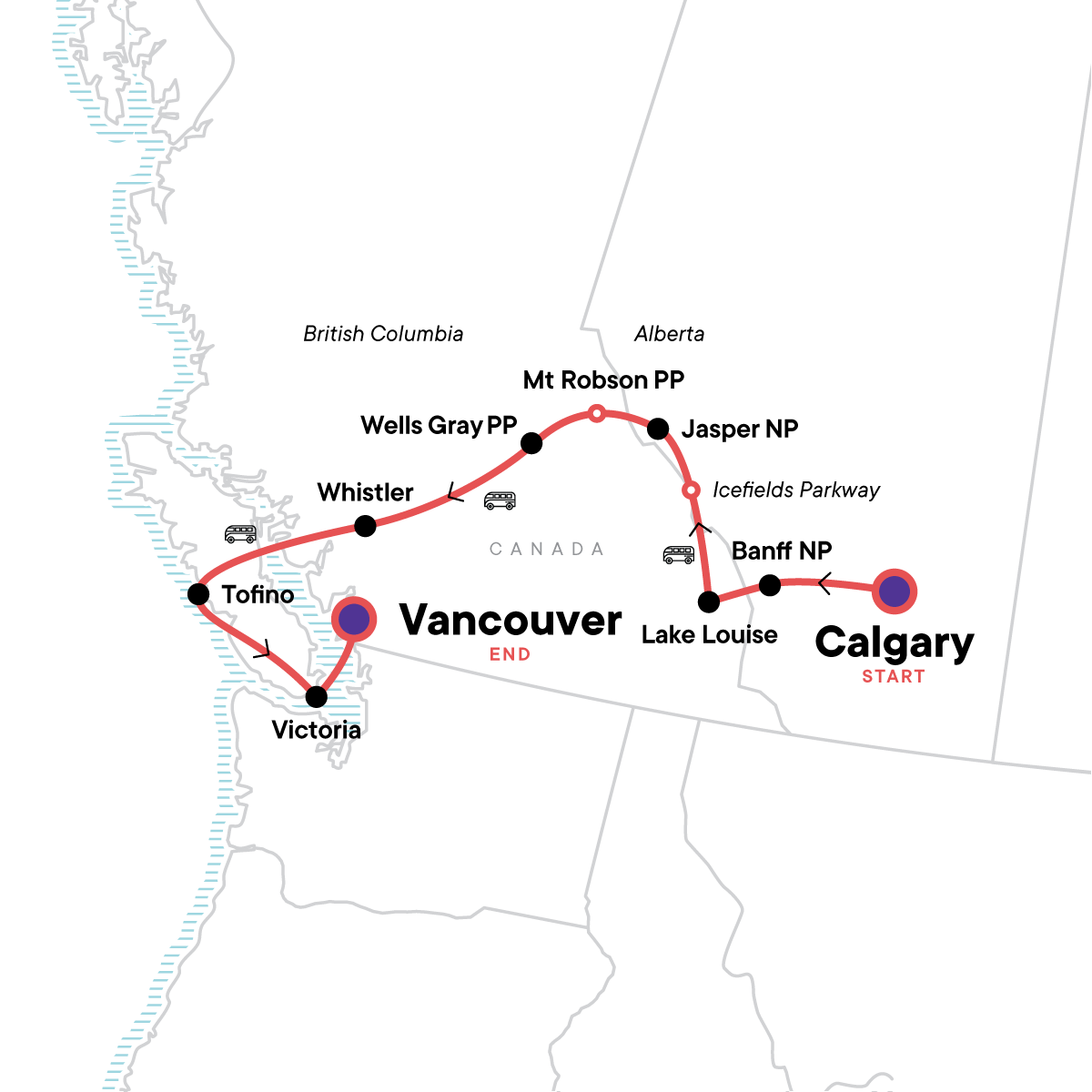 Canadian Rockies: National Parks Westbound Map
