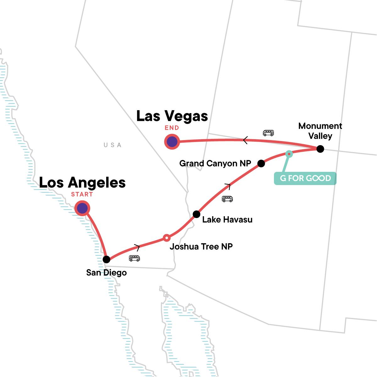 USA Road Trip: San Diego, Grand Canyon & Vegas Map