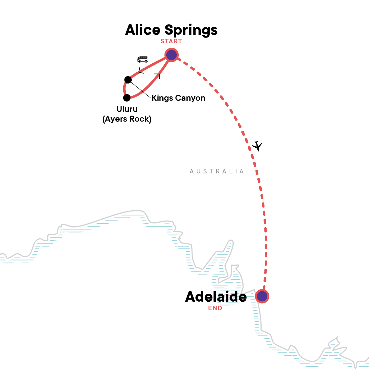 The Red Centre to Adelaide: Uluru & the Outback Map