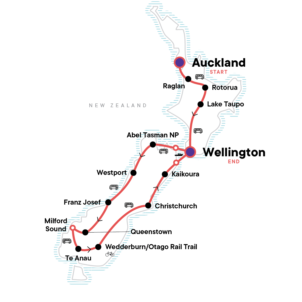 Best of New Zealand: Maori Culture & Mountain Coastlines Map