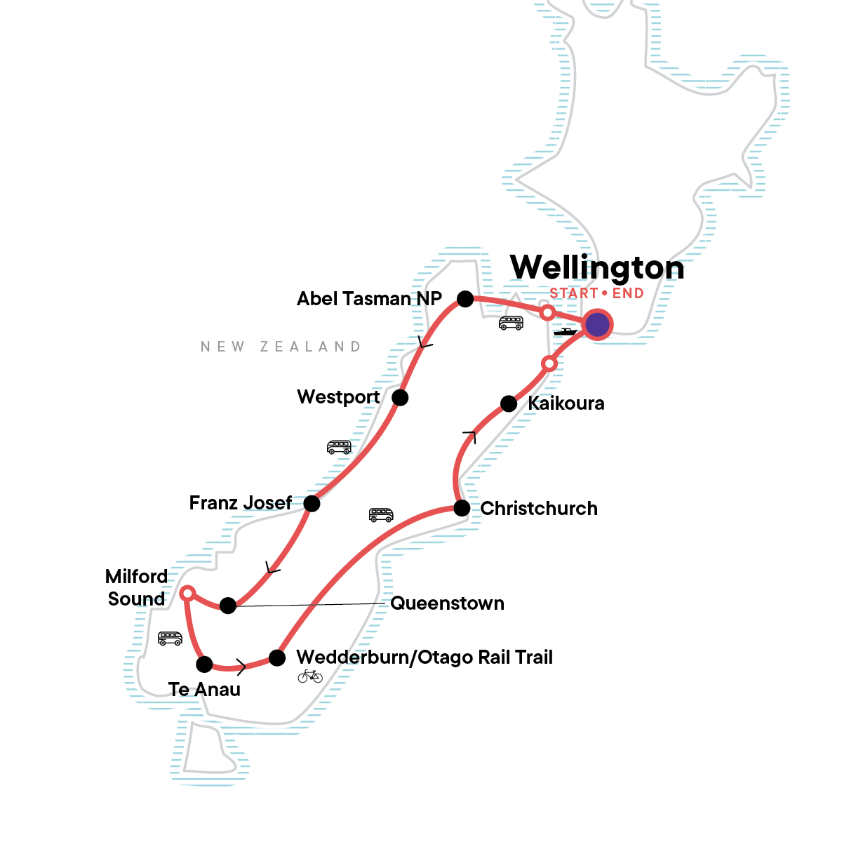 New Zealand: South Island Encompassed Map