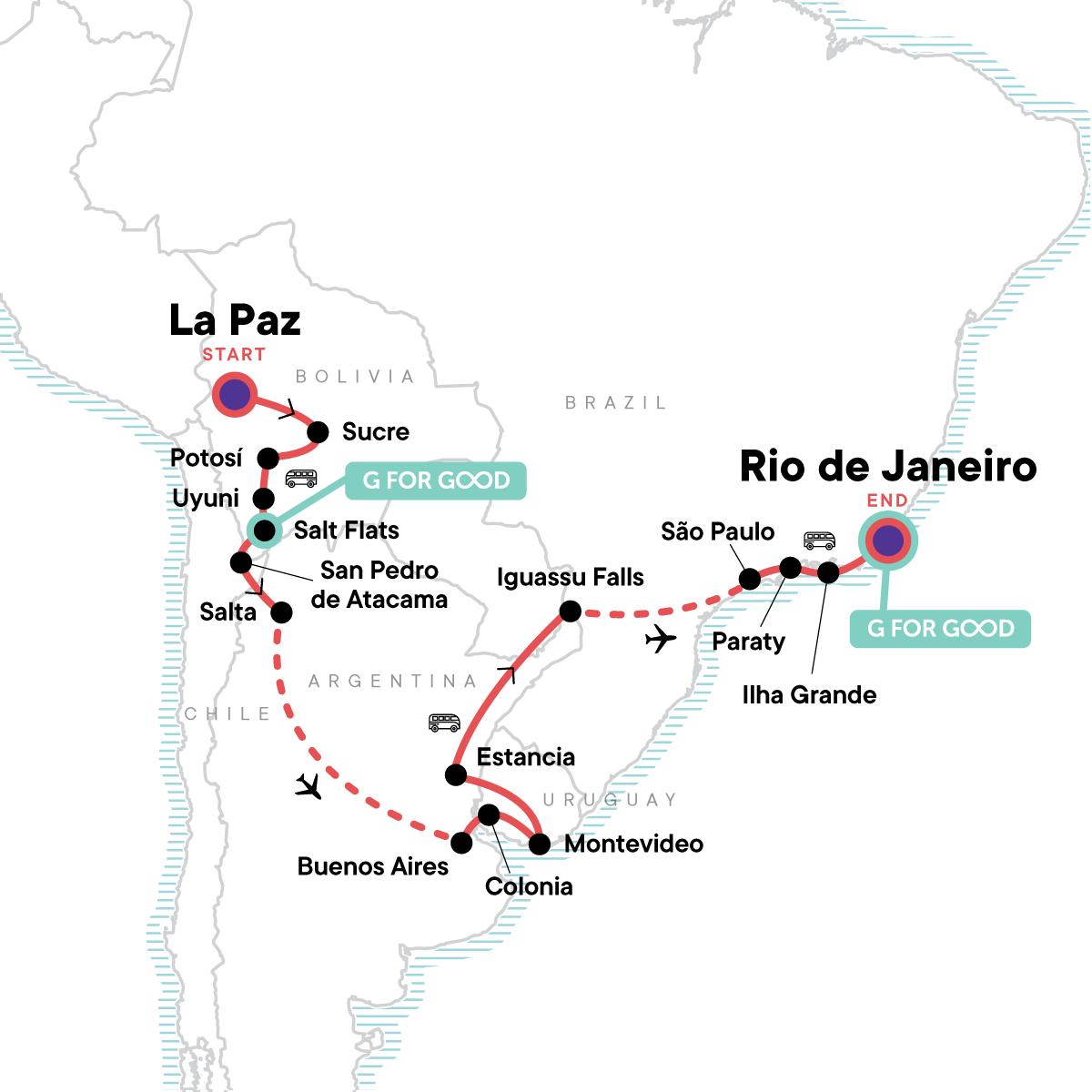Bolivia to Brazil: Highlands & Coastlines Map