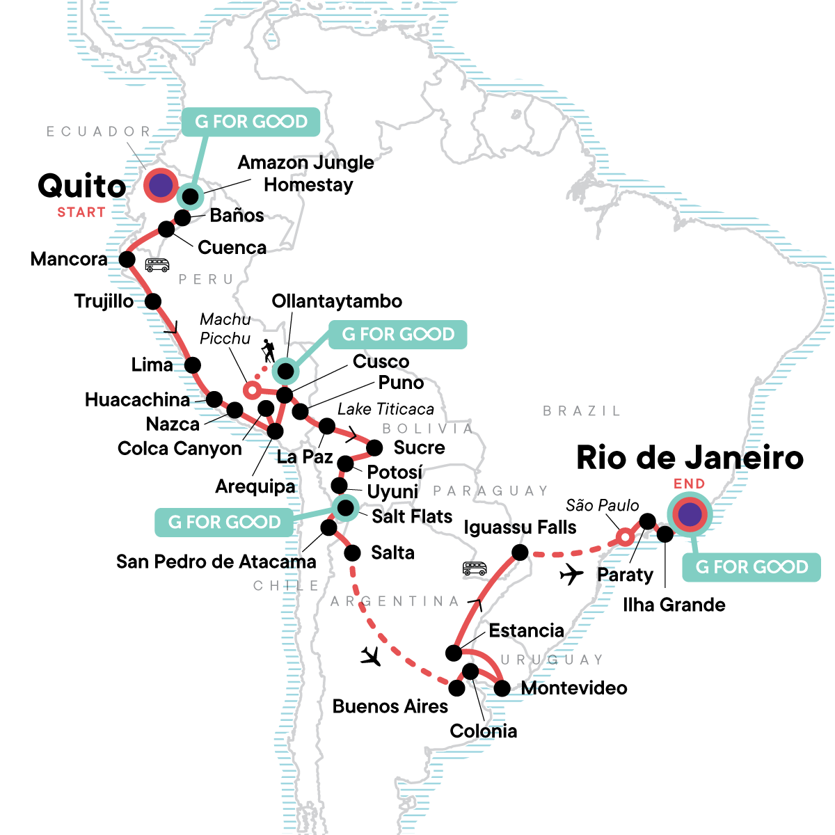 The Great South American Journey: Quito to Rio Adventure Map