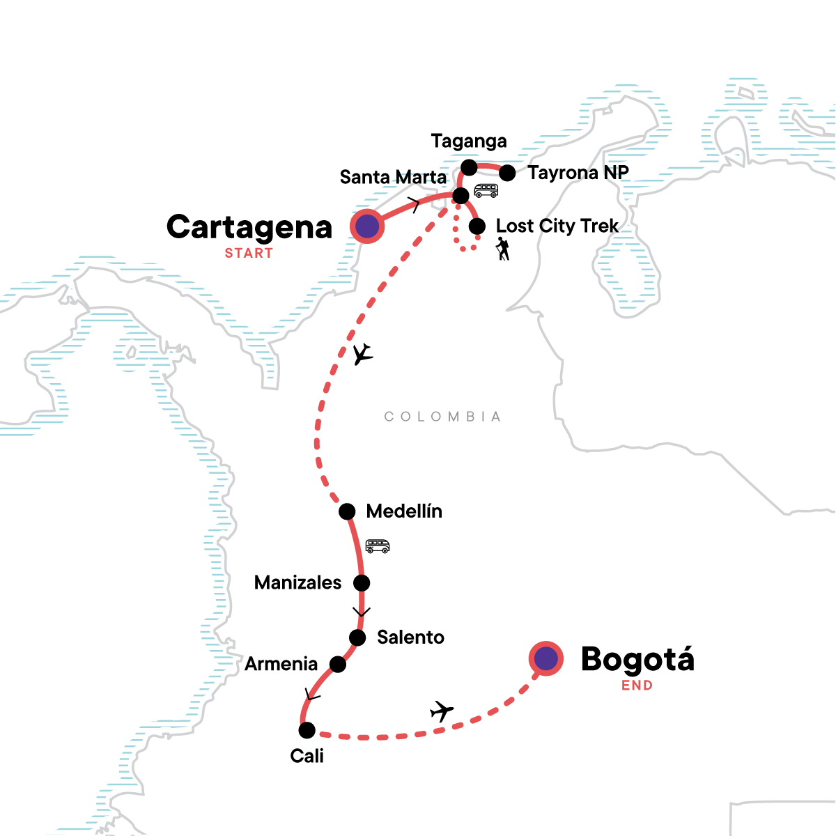 Cartagena to Bogota: Colonial Cities & Trekking Map