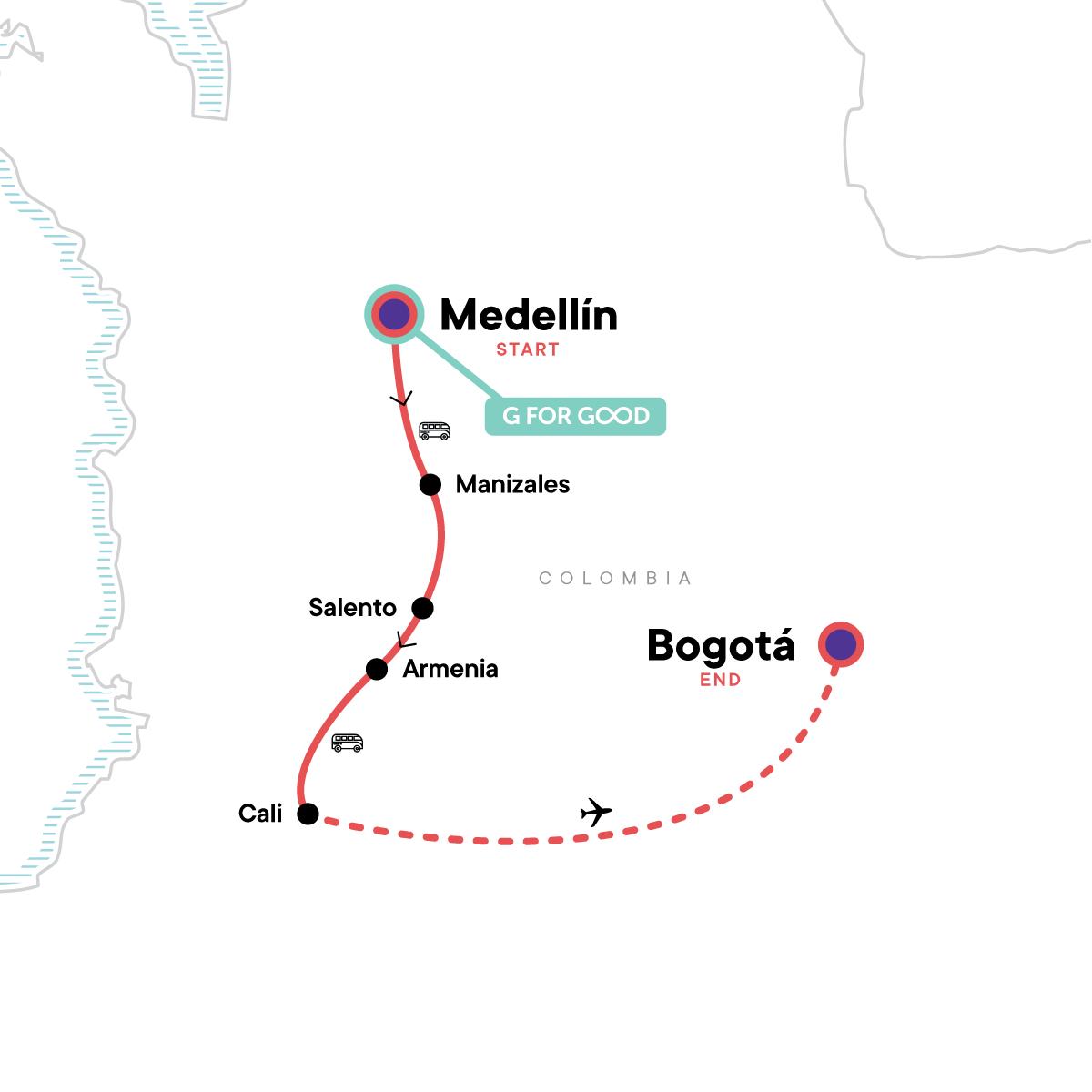 Medellín to Bogota Adventure: Coffee & Salsa Sounds Map