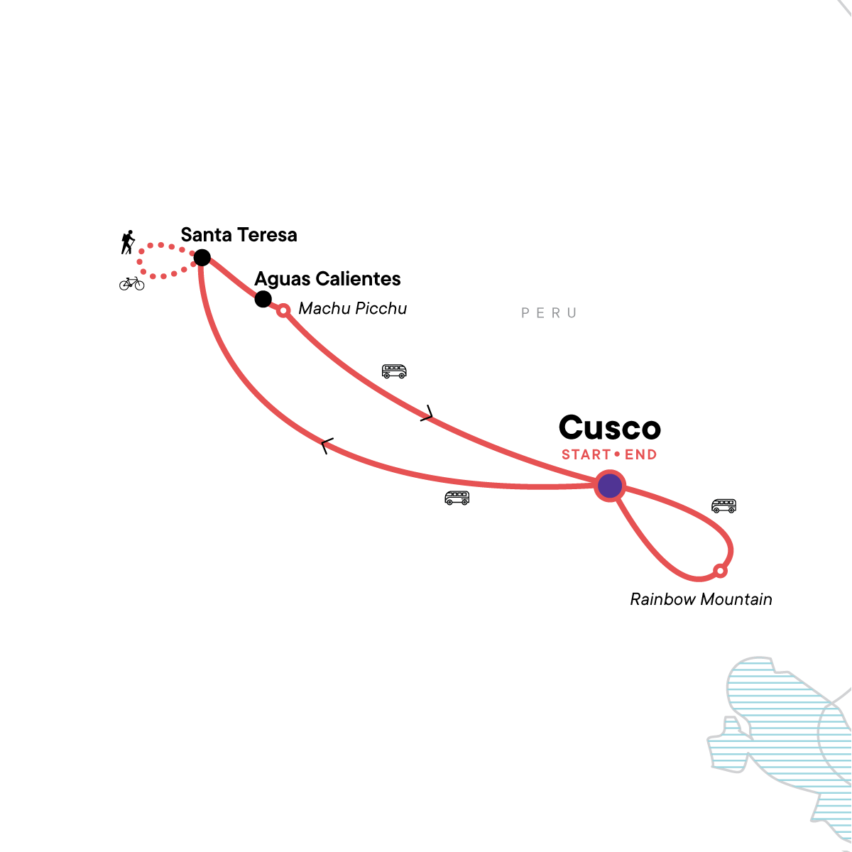 Peru: Inca Jungle & Rainbow Mountain Trek Map