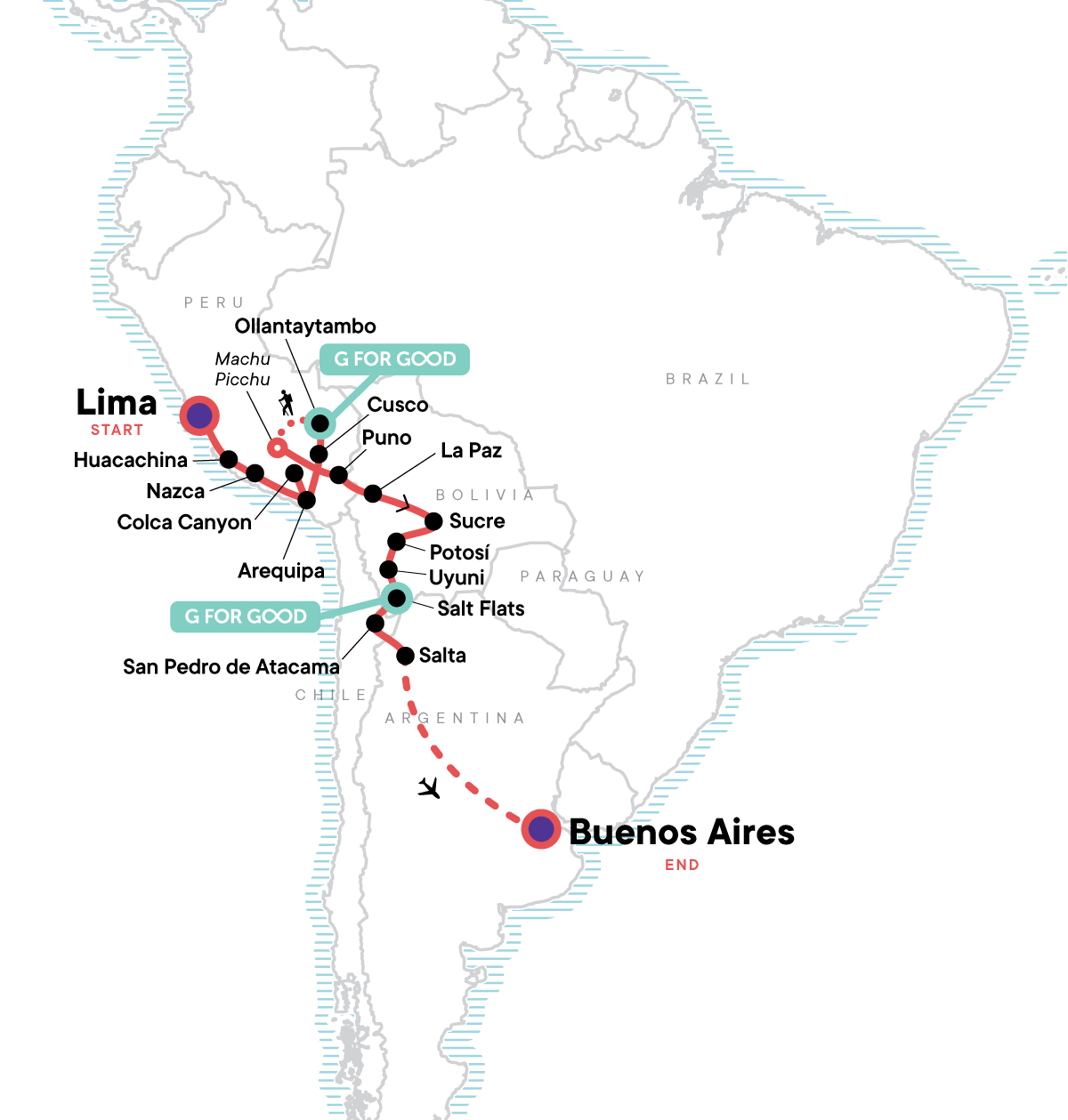 Lima to Buenos Aires: Deserts & Dancing Map