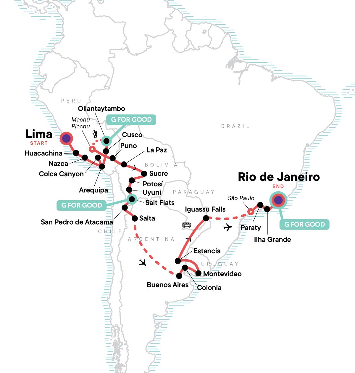 Lima to Rio: Coast to Coast Map