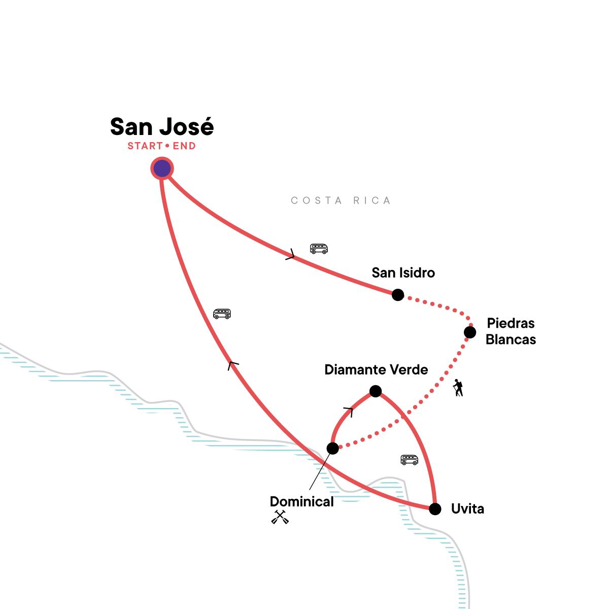 Trek Hidden Costa Rica Map