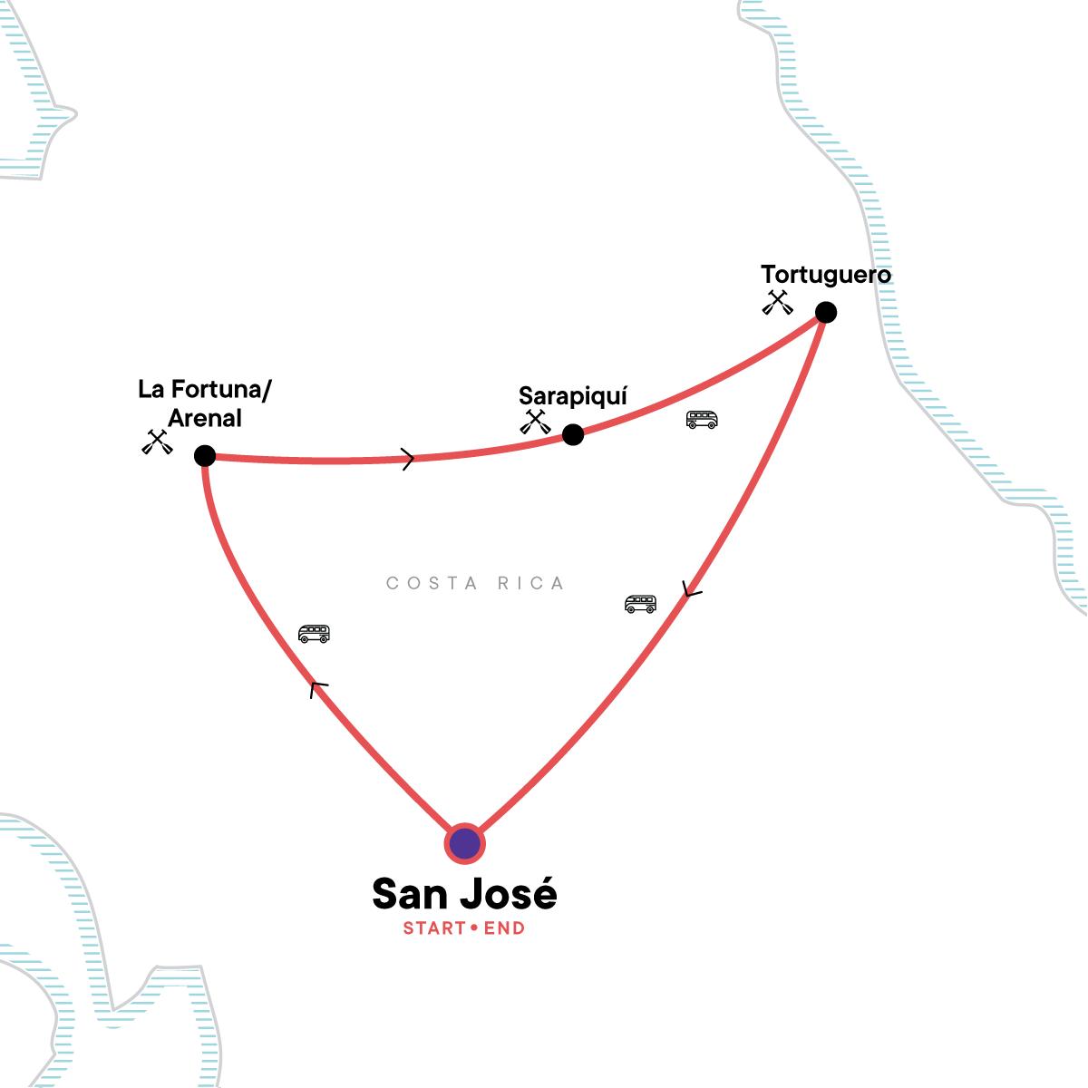 Costa Rica Kayaking Adventure Map