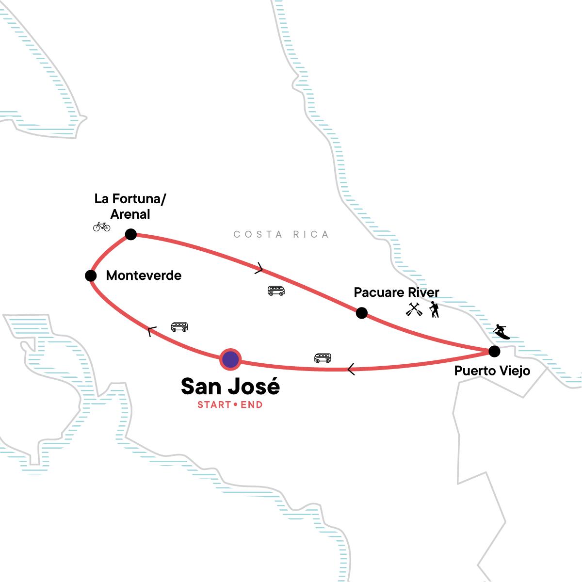 Costa Rica Active Adventure Map