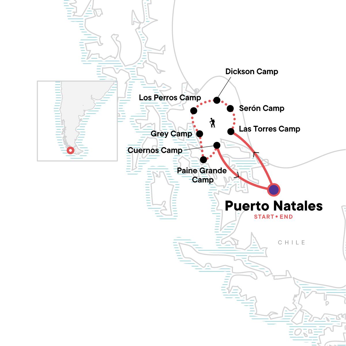 Torres del Paine - Full Circuit Trek Map