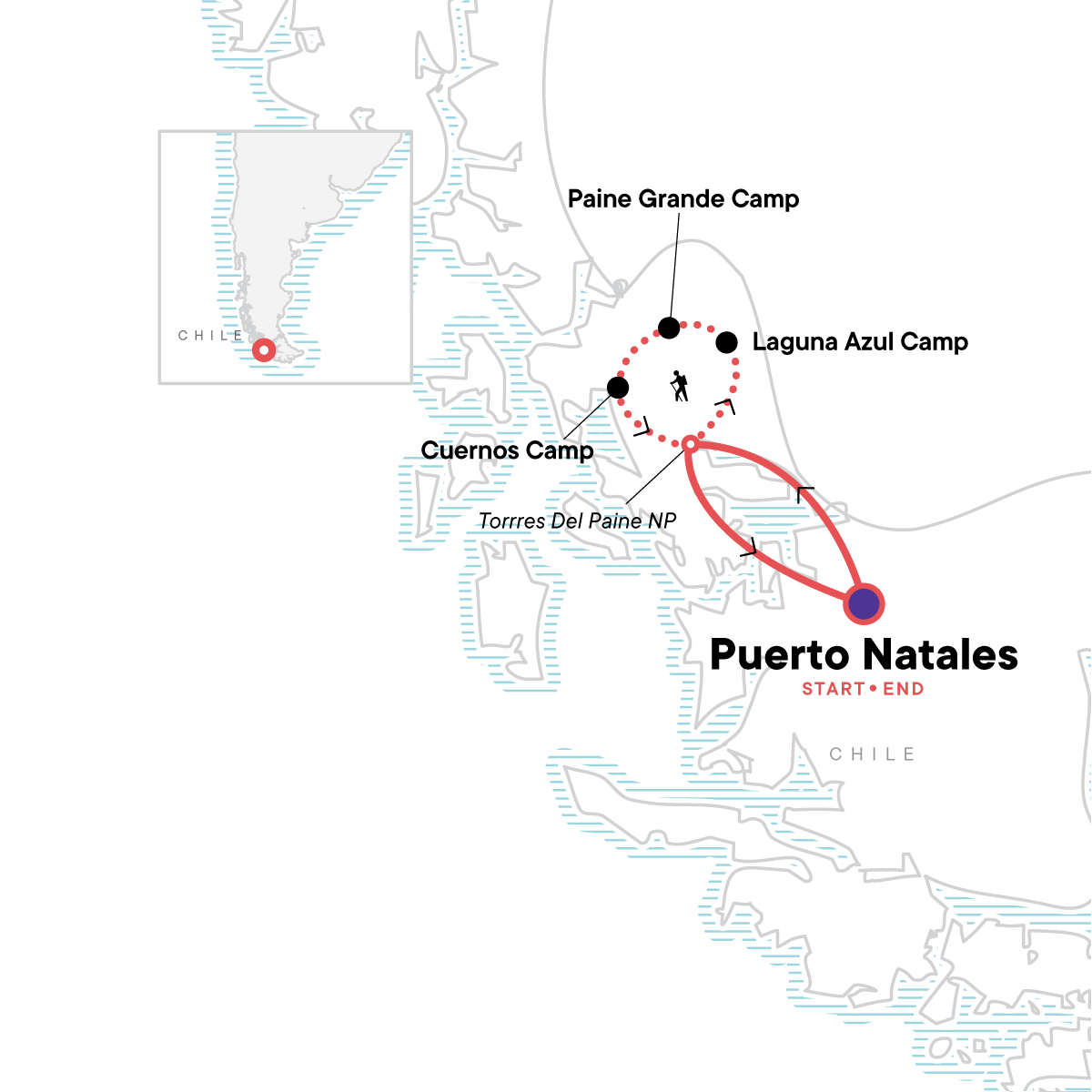 Torres del Paine - The W Trek Map