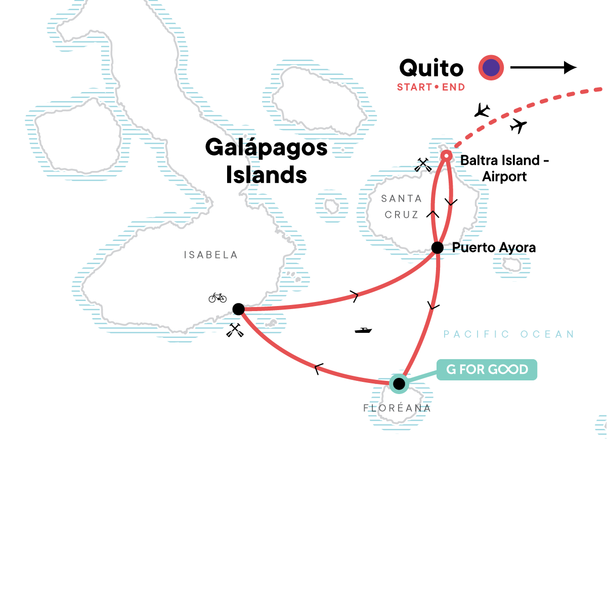 Galápagos Multisport with Quito Map