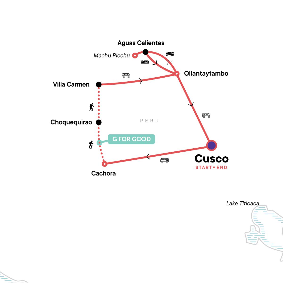 Choquequirao to Machu Picchu Express Map