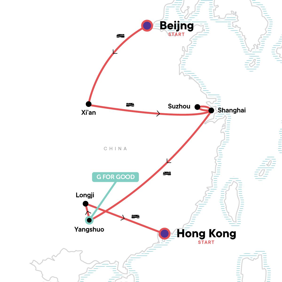 Classic Beijing to Hong Kong Adventure Map