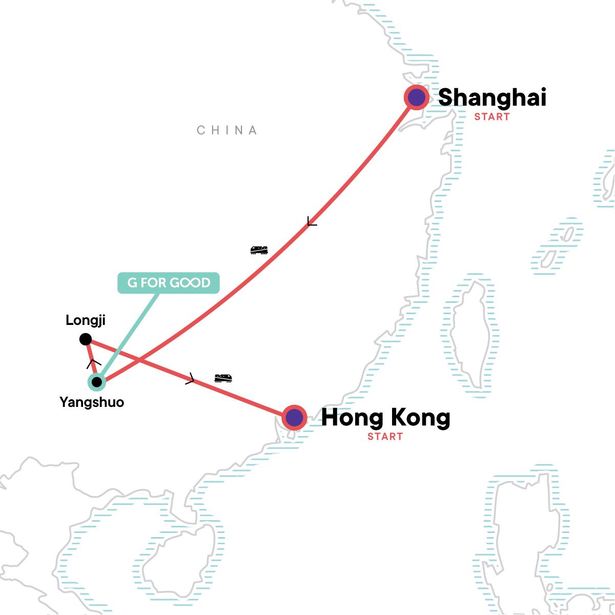 Classic Shanghai to Hong Kong Adventure Map