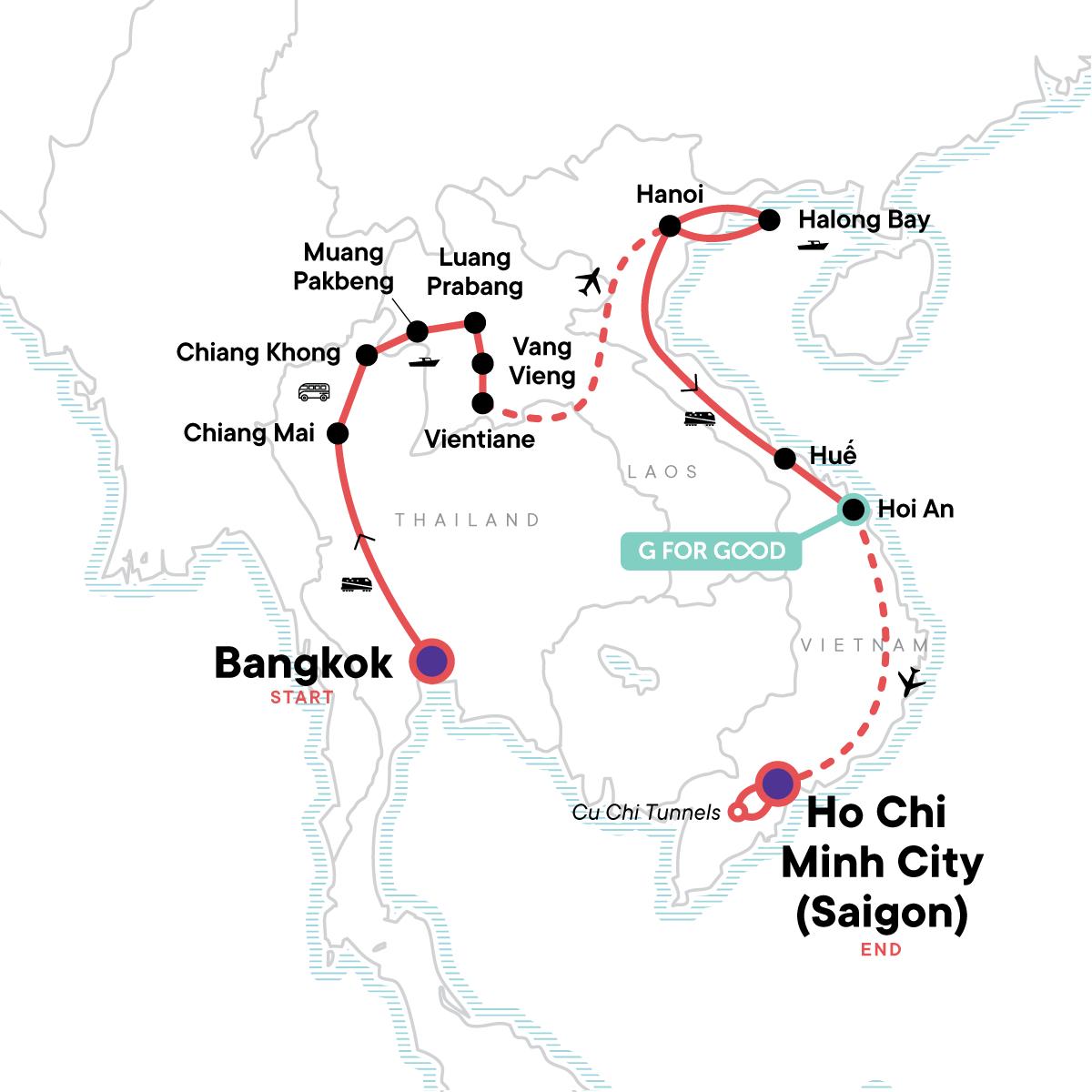 Thailand, Laos & Vietnam Adventure Map