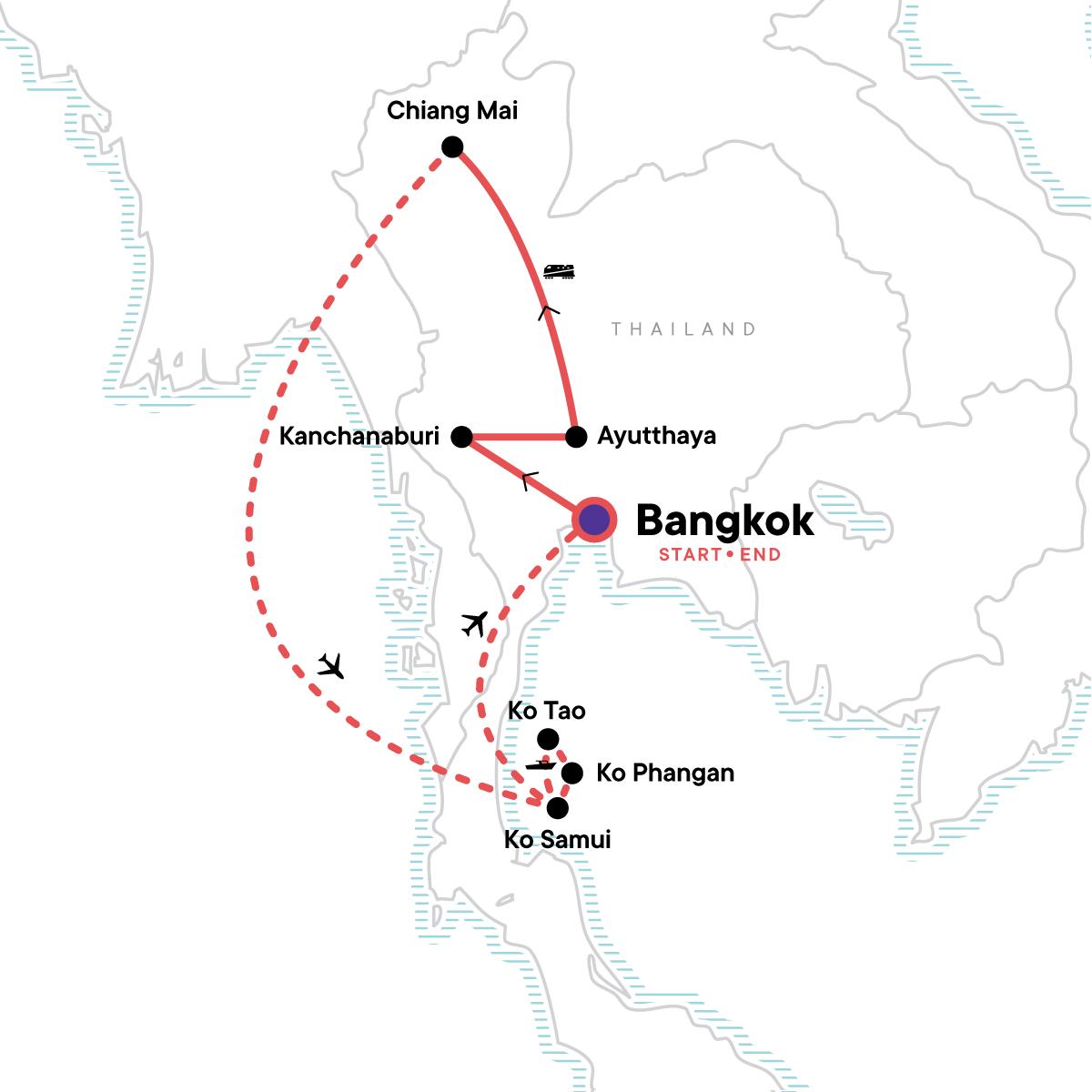 TailorMade Thailand: East Coast Explorer Map
