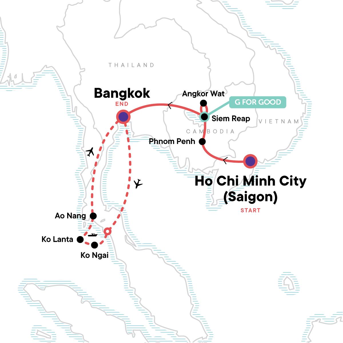 Classic Cambodia and Thai Islands – West Coast Map