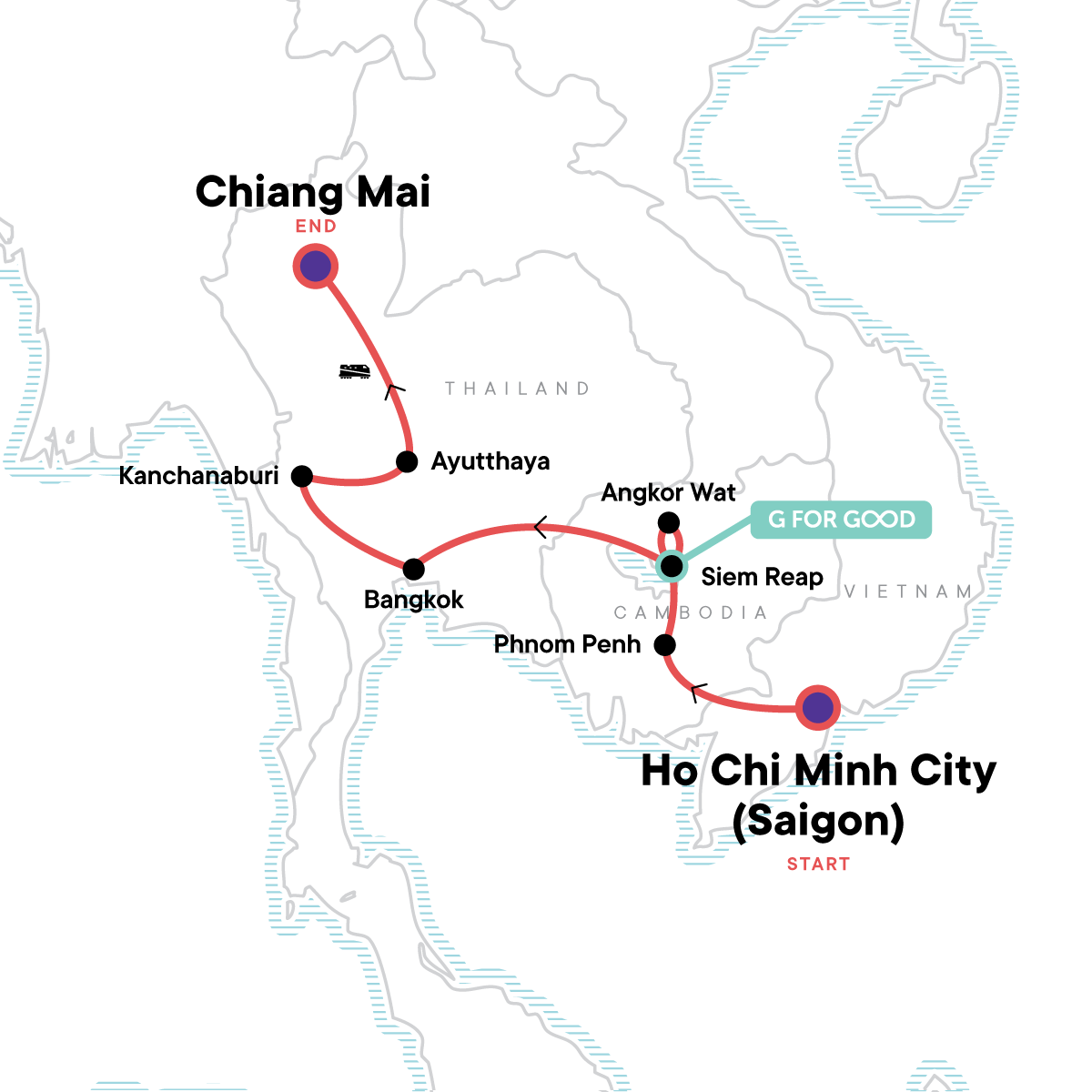 Best of Cambodia & Northern Thailand Map