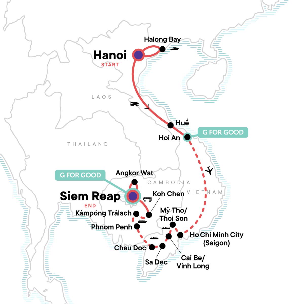 Classic Vietnam & Mekong River Adventure Map