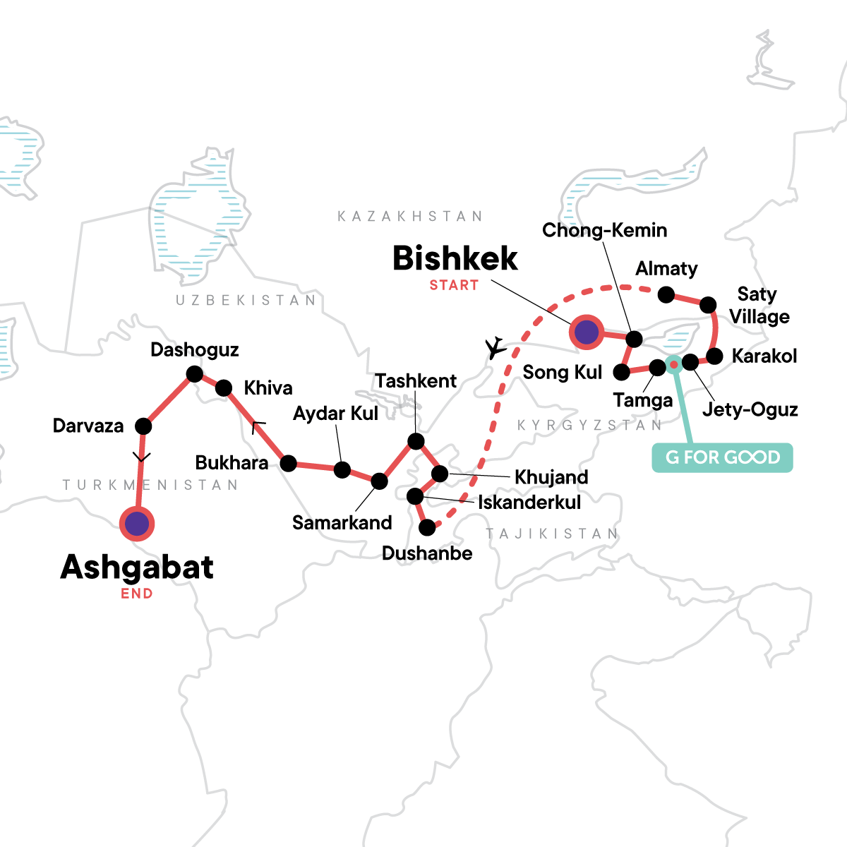 The Five Stans of the Silk Road Map