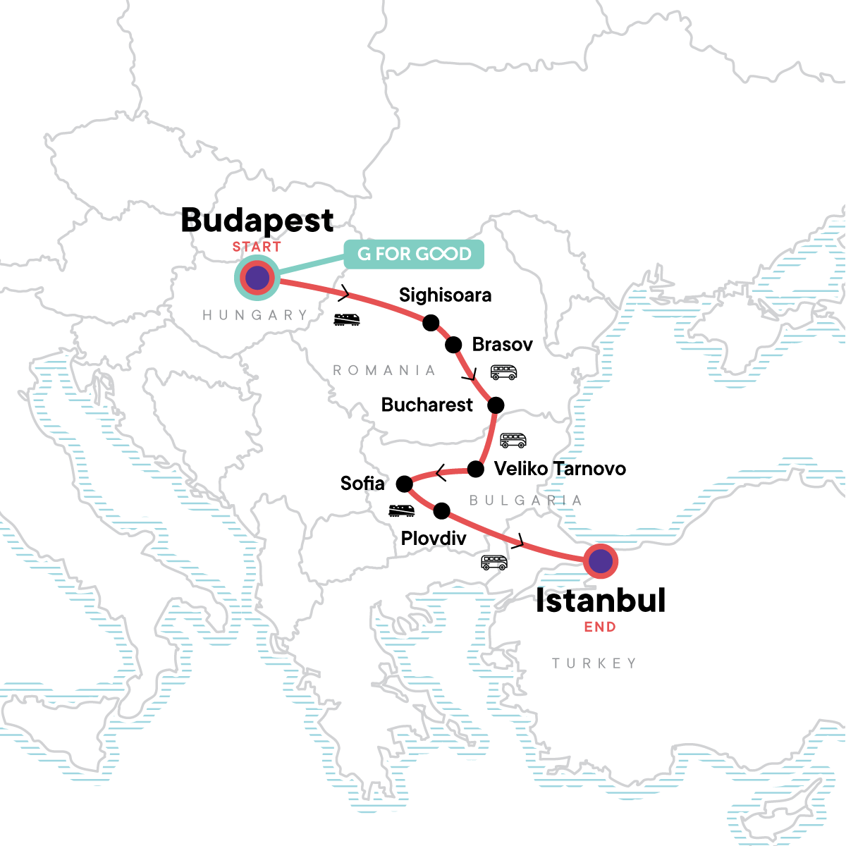 Budapest to Istanbul Map