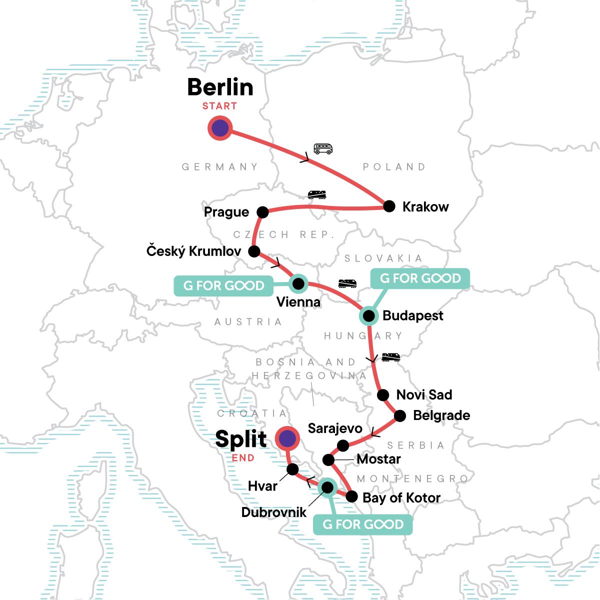 Eastern Europe, Croatia & the Balkans Map