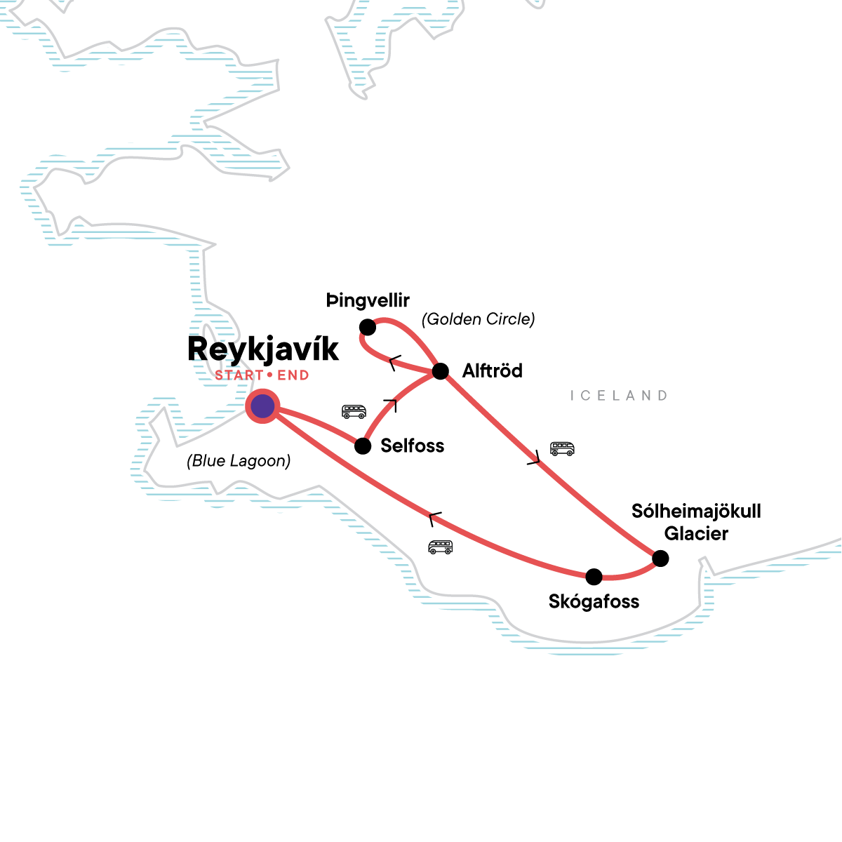 Iceland Northern Lights & Golden Circle Map