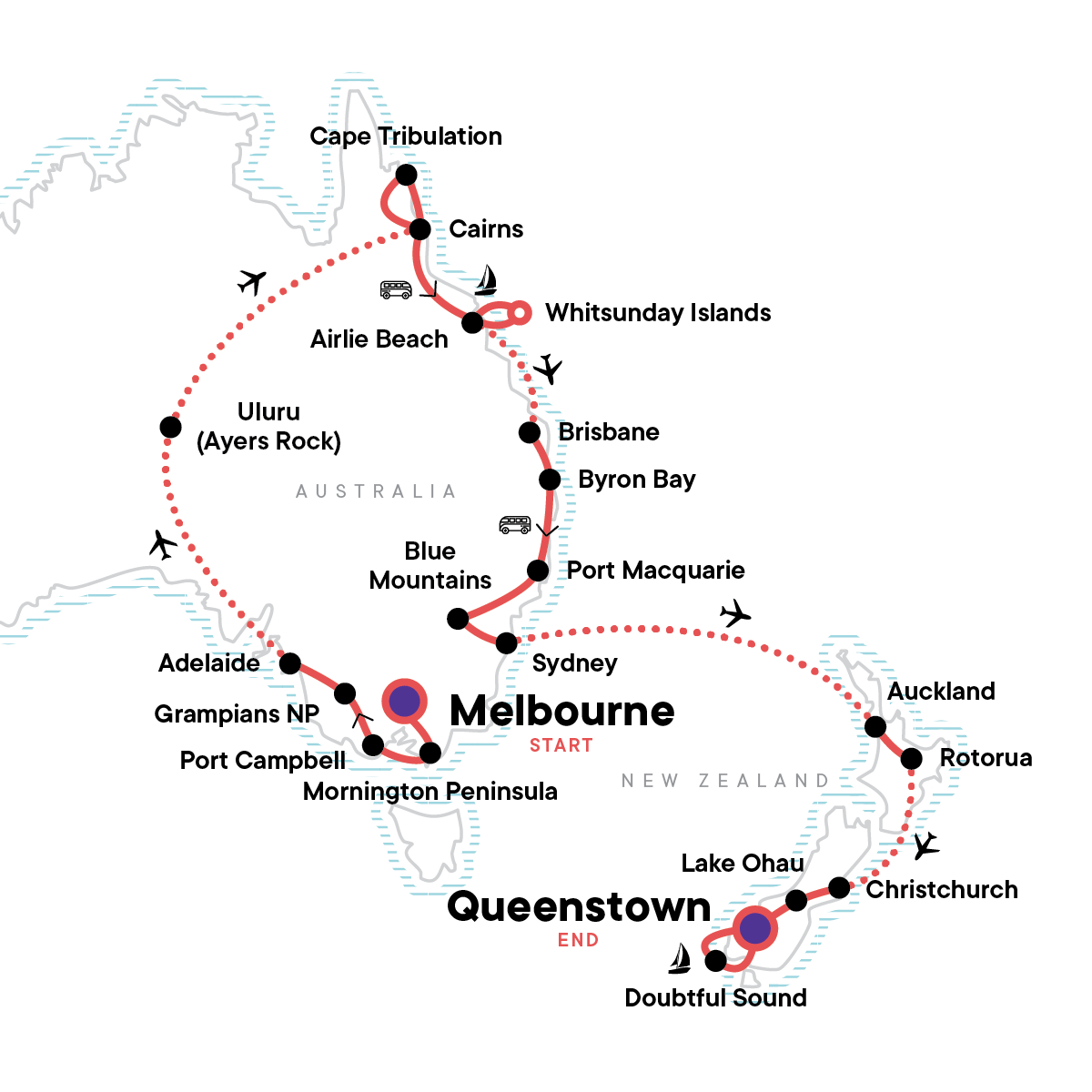 Australia & New Zealand Encompassed Map