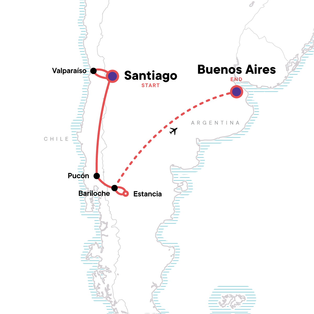 Highlights of Chile & Argentina Map