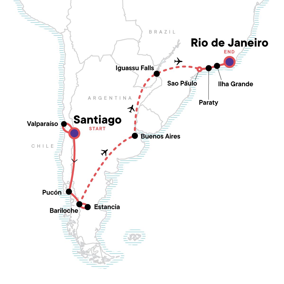 Andes, Iguassu & Beyond Map
