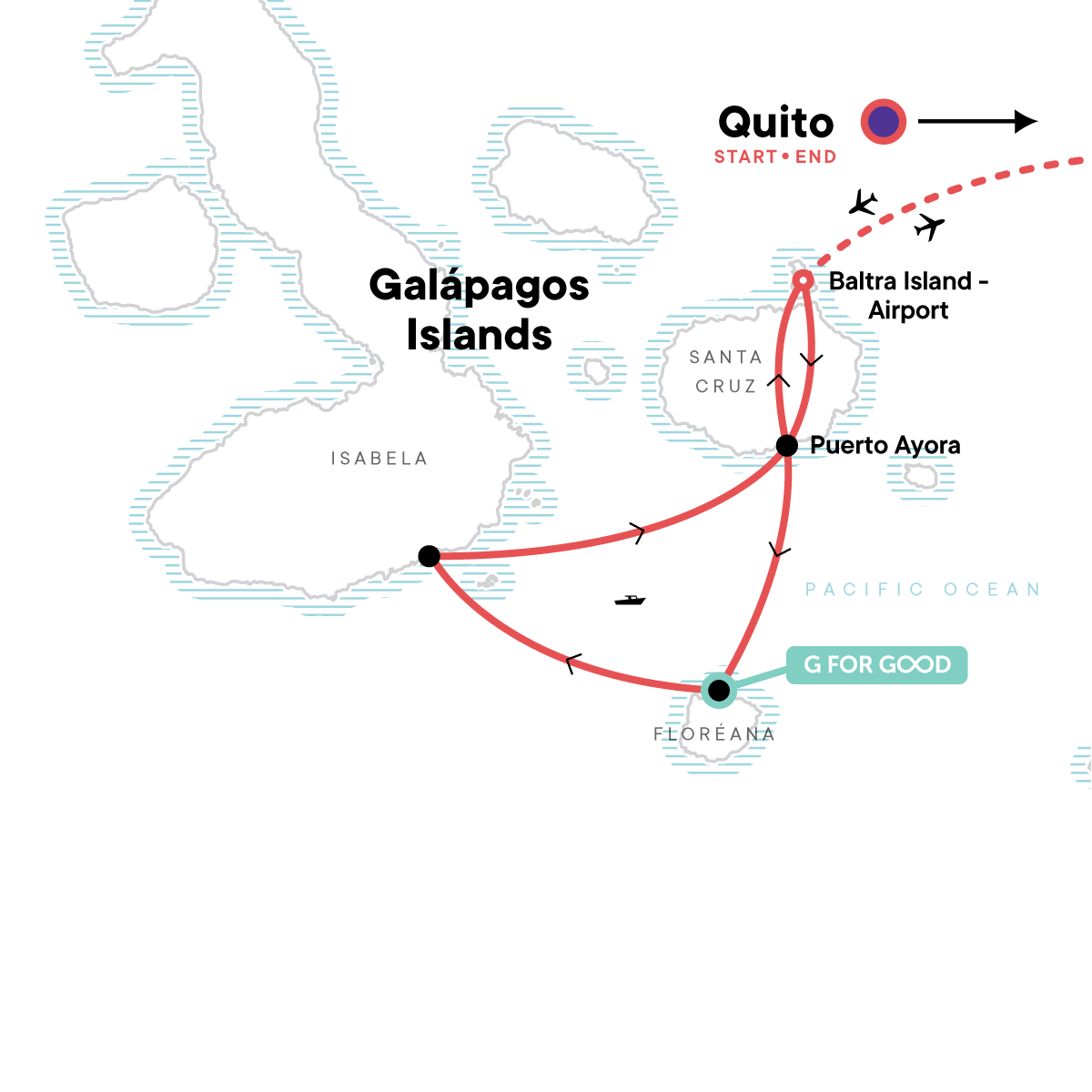 Galápagos Island Hopping with Quito Map