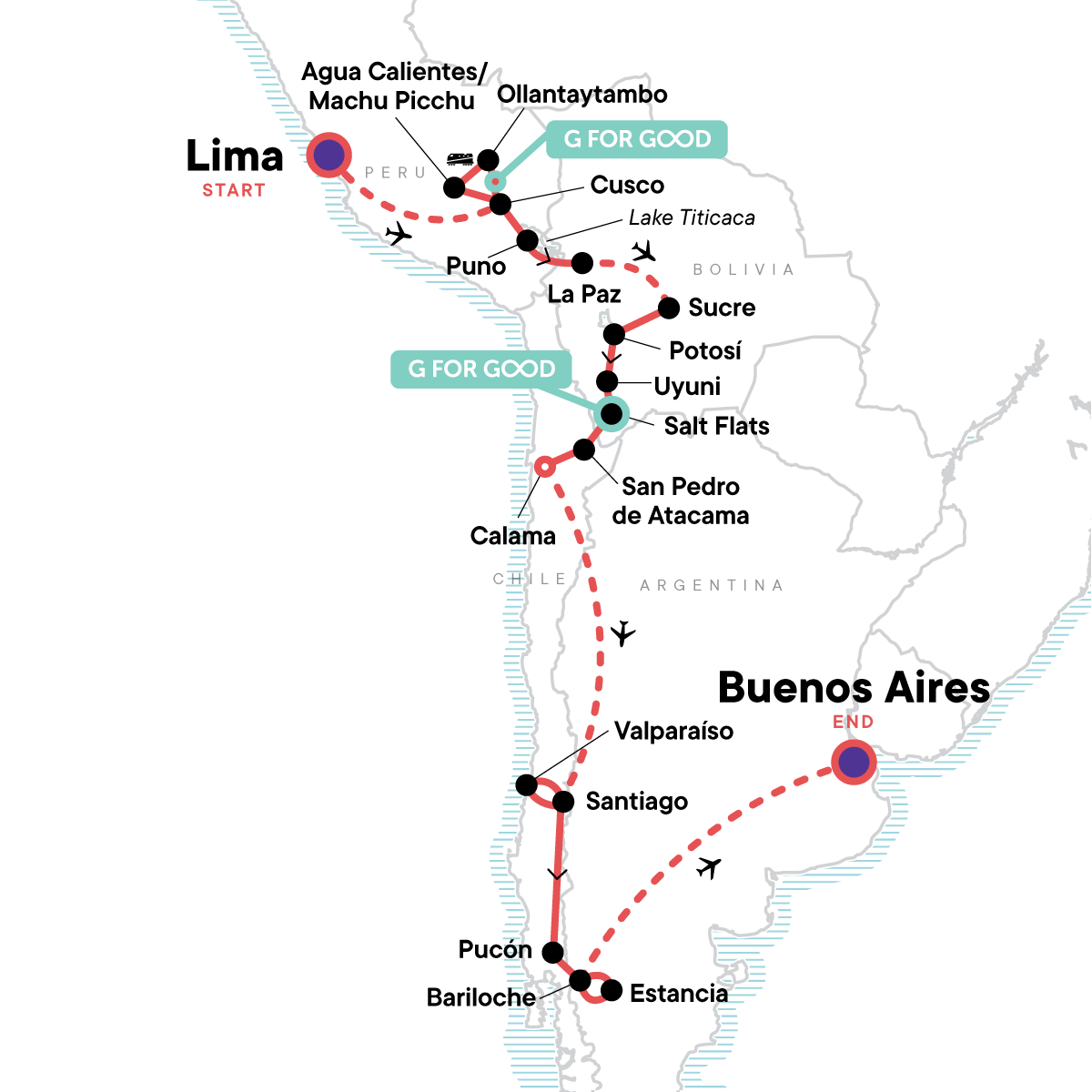 The Scenic Route - Lima to Buenos Aires Map