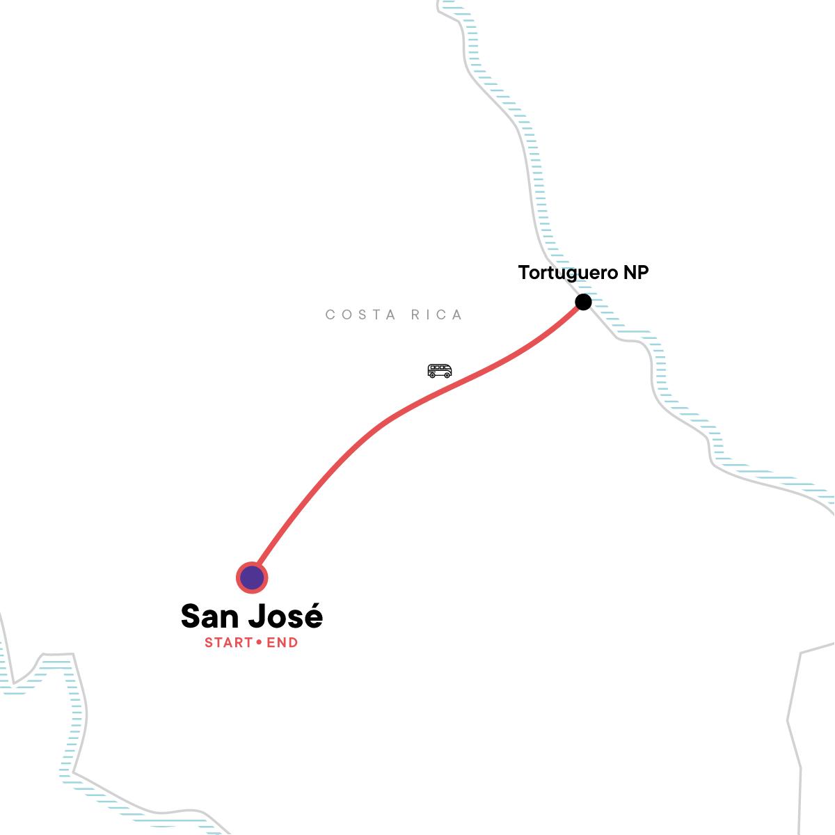 Tortuguero National Park Tour – 4-Day Independent Adventure Map