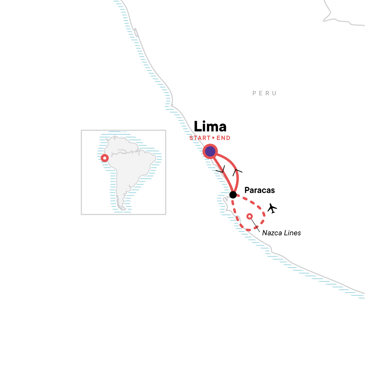 Paracas & Nazca Lines Independent Adventure Map