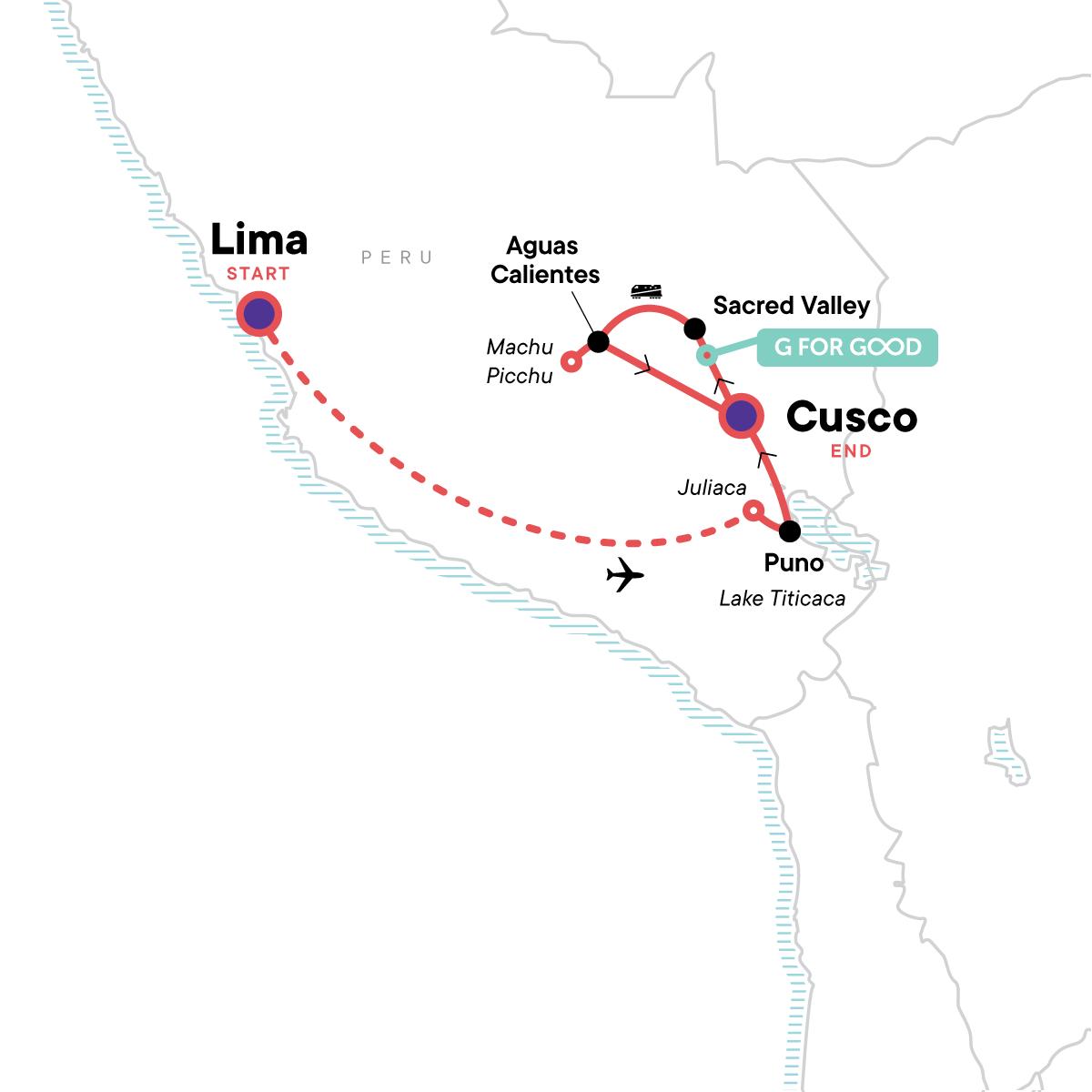 Lake Titicaca & Machu Picchu Independent Adventure Map
