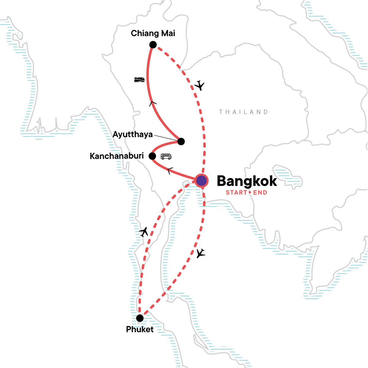 Thailand Family Adventure Map