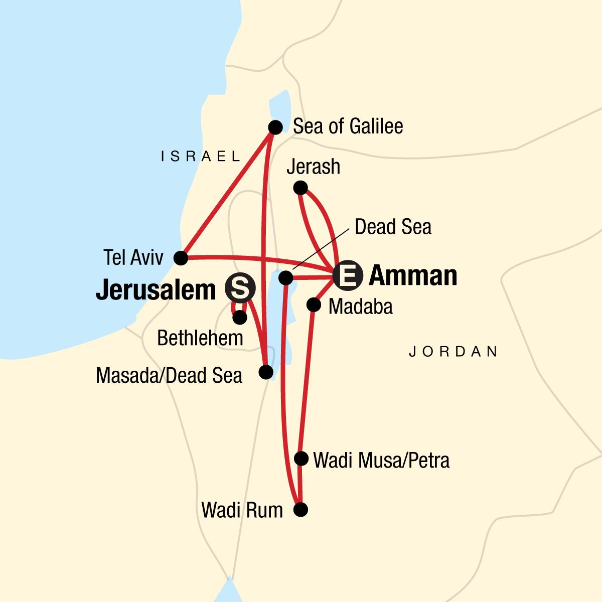 Explore Israel & Jordan Map