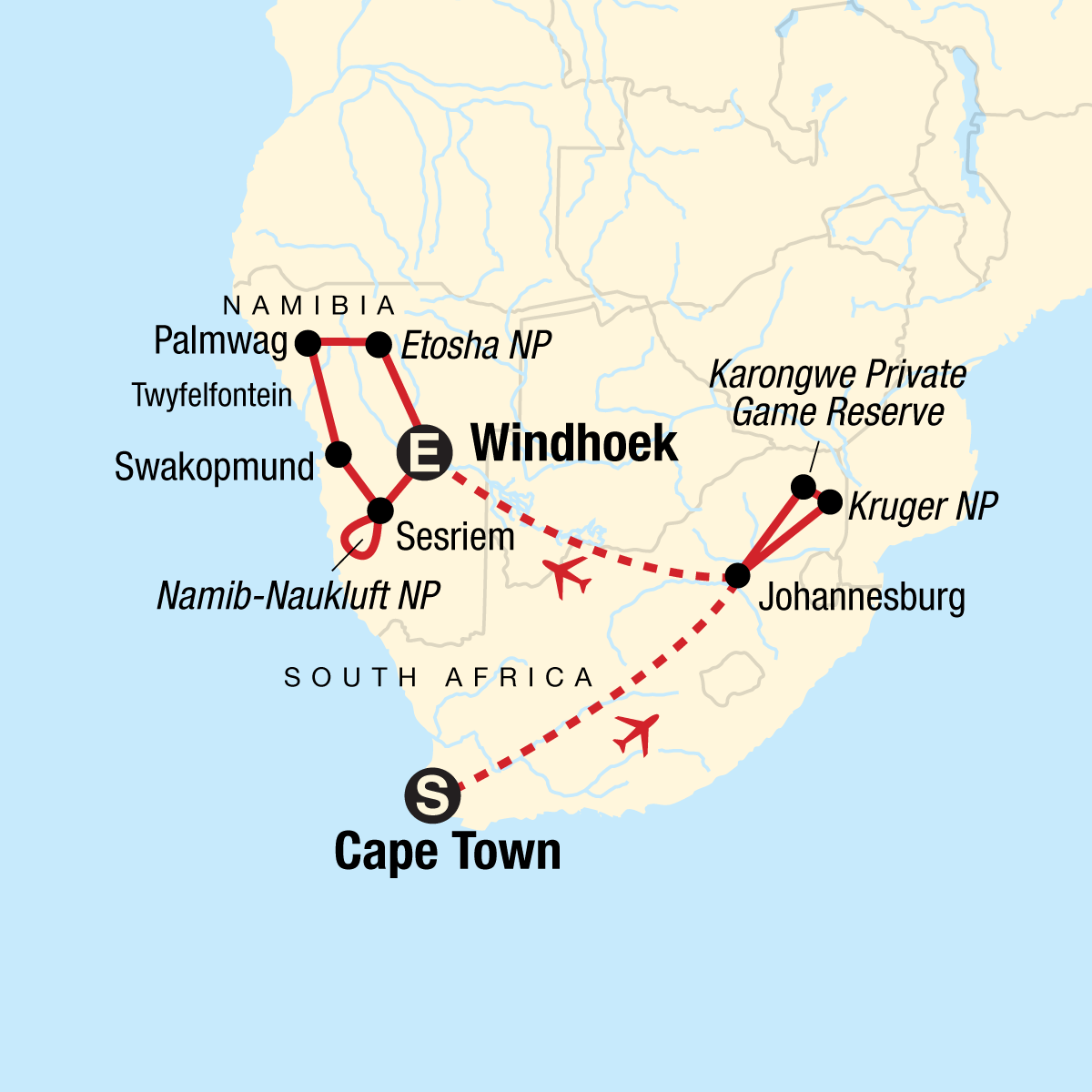 Cape Town, Kruger & Namibia Map