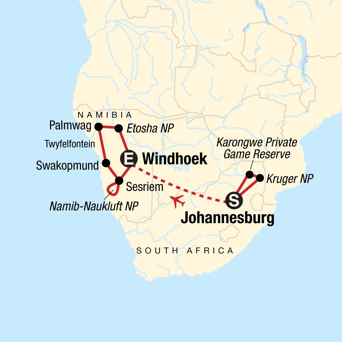 Discover Kruger & Namibia Map