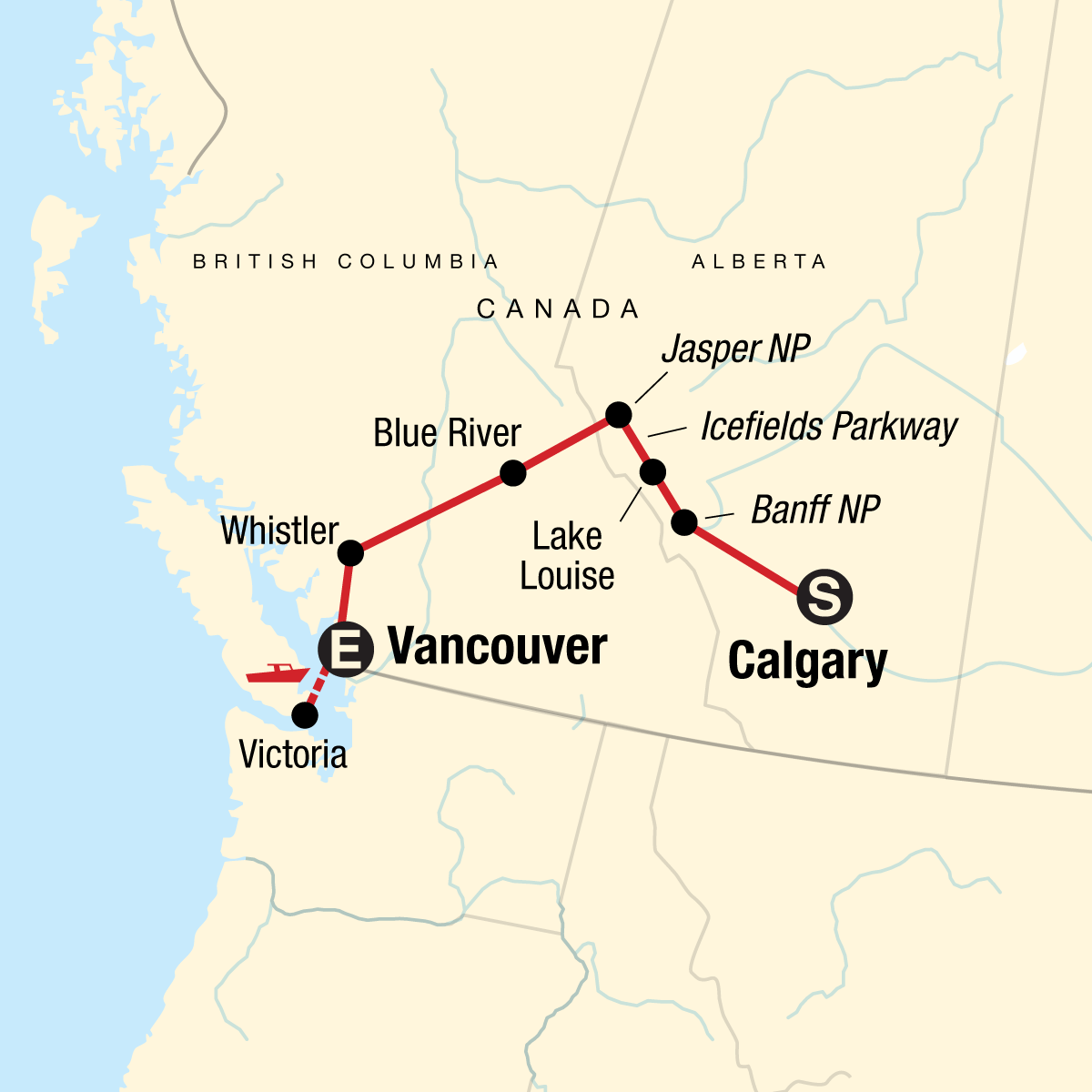 Discover the Canadian Rockies - Westbound Map