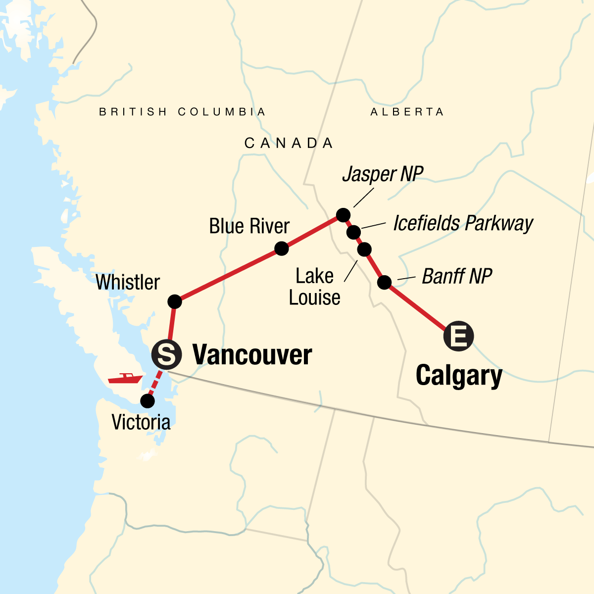Discover the Canadian Rockies - Eastbound Map