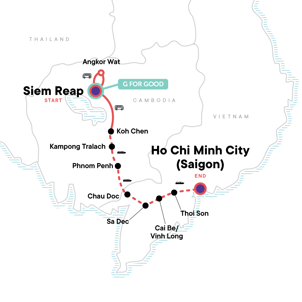Mekong River Encompassed – Siem Reap to Ho Chi Minh City Map